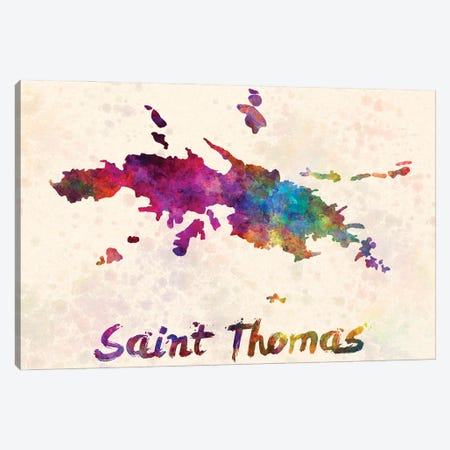 Saint Thomas Map In Watercolor Canvas Print #PUR1792} by Paul Rommer Canvas Wall Art