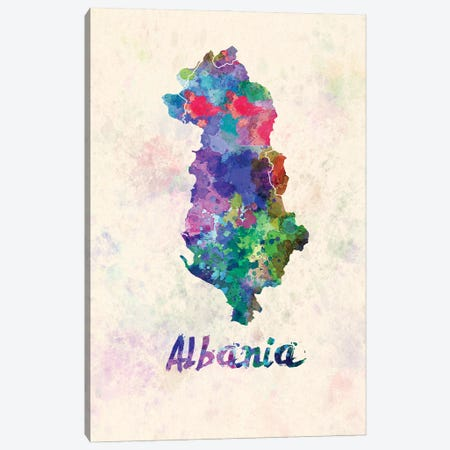 Albania Map In Watercolor Canvas Print #PUR1798} by Paul Rommer Canvas Art