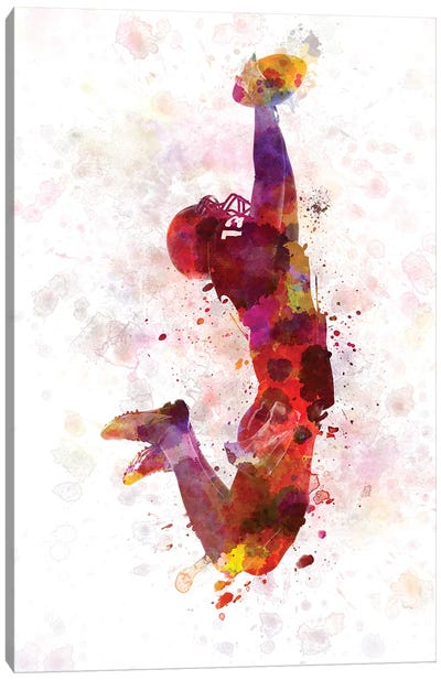 American Football Player Catching Ball I Canvas Art Print