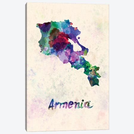Armenia Map In Watercolor Canvas Print #PUR1801} by Paul Rommer Canvas Wall Art
