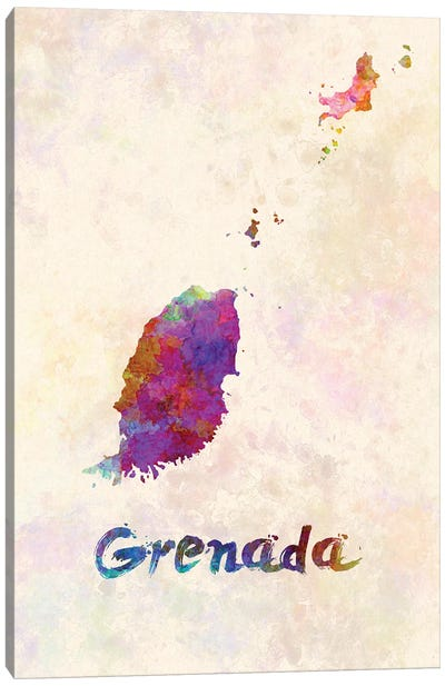 Grenada Map In Watercolor Canvas Art Print
