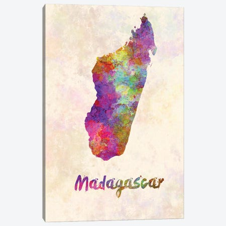 Madagascar Map In Watercolor Canvas Print #PUR1823} by Paul Rommer Canvas Art