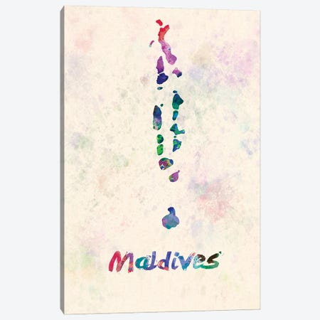Maldives Map In Watercolor Canvas Print #PUR1824} by Paul Rommer Art Print