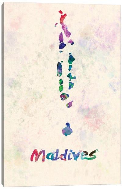Maldives Map In Watercolor Canvas Art Print