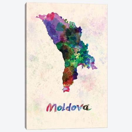 Moldova Map In Watercolor Canvas Print #PUR1829} by Paul Rommer Canvas Wall Art