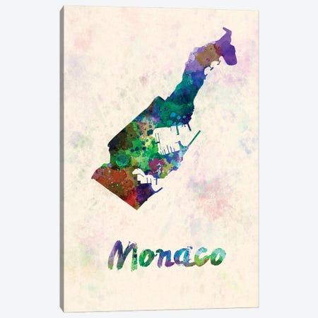 Monaco Map In Watercolor Canvas Print #PUR1830} by Paul Rommer Art Print