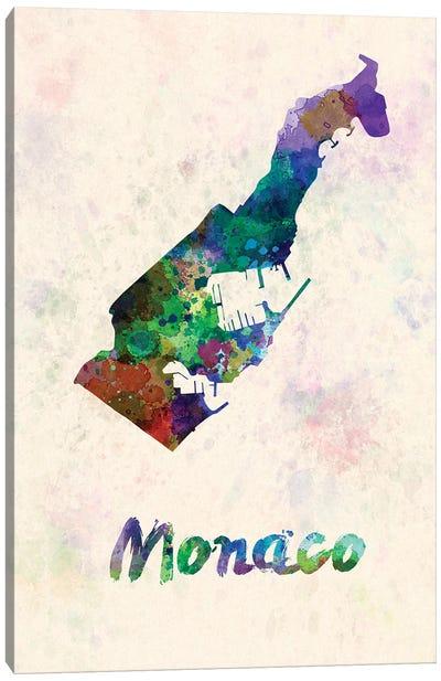 Monaco Map In Watercolor Canvas Art Print