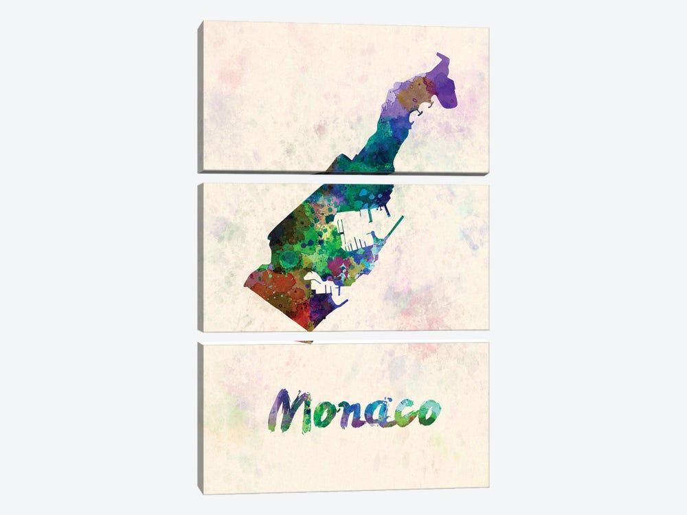 Monaco Map In Watercolor by Paul Rommer 3-piece Canvas Artwork