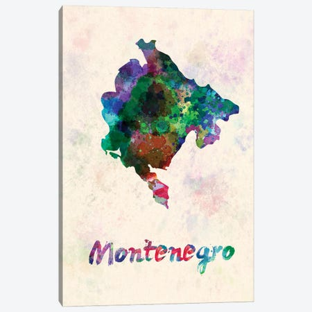 Montenegro Map In Watercolor Canvas Print #PUR1831} by Paul Rommer Art Print