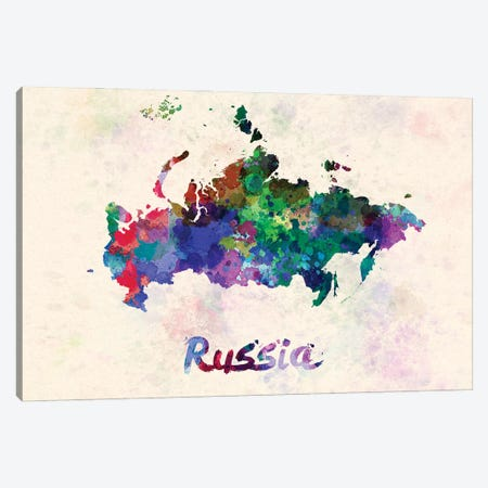 Russia Map In Watercolor Canvas Print #PUR1836} by Paul Rommer Canvas Wall Art