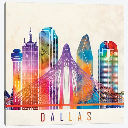 Dallas Landmarks Watercolor Poster Canvas Print #PUR184} by Paul Rommer Canvas Artwork