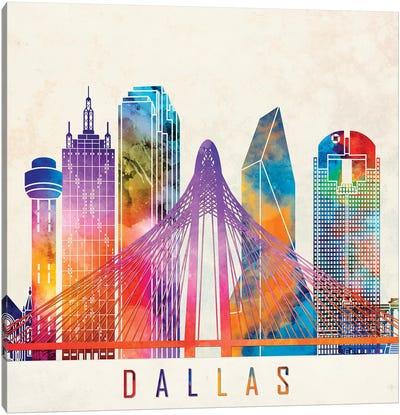 Dallas Landmarks Watercolor Poster Canvas Art Print