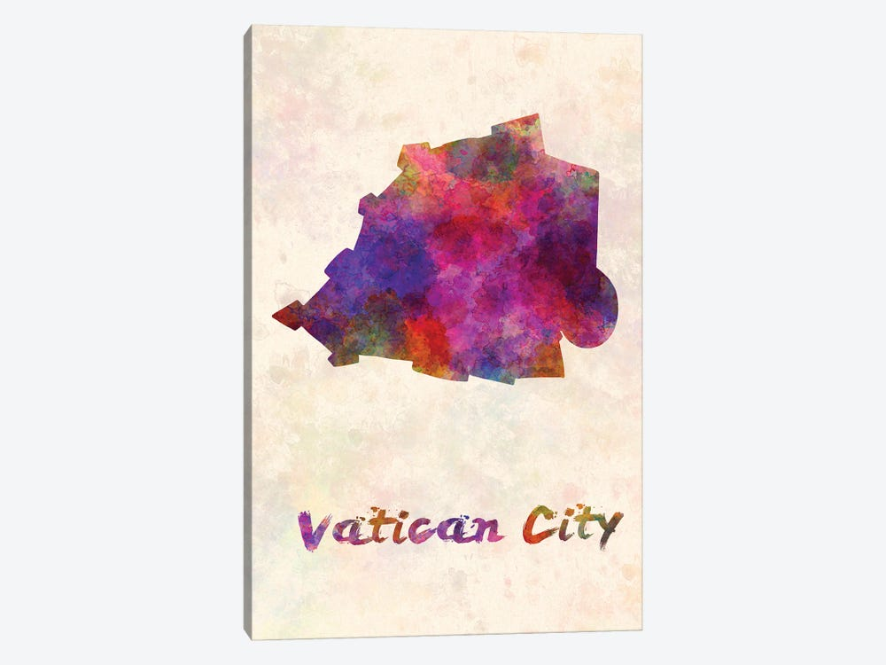 Vatican City Map In Watercolor by Paul Rommer 1-piece Canvas Wall Art