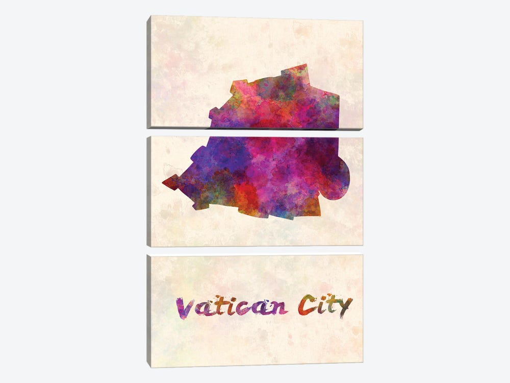 Vatican City Map In Watercolor by Paul Rommer 3-piece Canvas Artwork