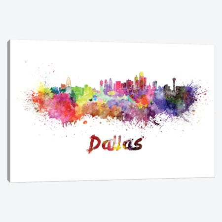 Dallas Skyline In Watercolor Canvas Print #PUR185} by Paul Rommer Canvas Art