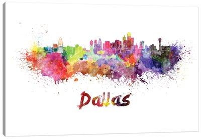 Dallas Skyline In Watercolor Canvas Art Print