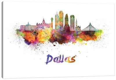 Dallas Skyline In Watercolor II Canvas Art Print
