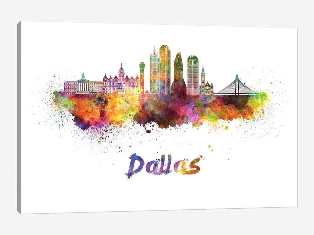 Dallas Skyline In Watercolor II by Paul Rommer 1-piece Canvas Wall Art