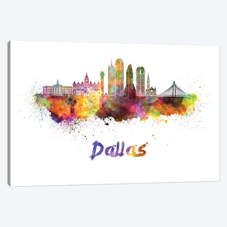 Dallas Skyline In Watercolor II Canvas Print #PUR186} by Paul Rommer Canvas Artwork