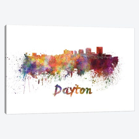Dayton Skyline In Watercolor Canvas Print #PUR189} by Paul Rommer Art Print