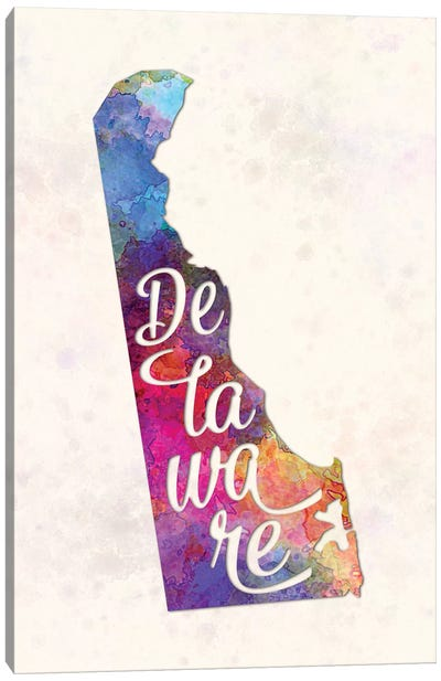 Delaware US State In Watercolor Text Cut Out Canvas Art Print