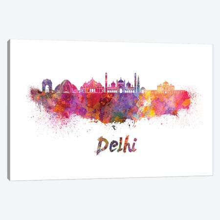 Delhi Skyline In Watercolor Canvas Print #PUR194} by Paul Rommer Canvas Art Print
