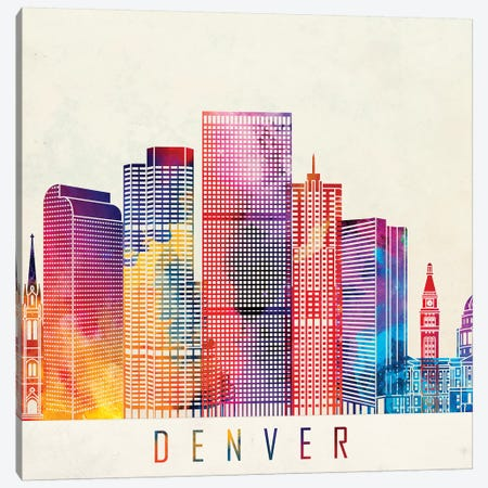 Denver Landmarks Watercolor Poster Canvas Print #PUR195} by Paul Rommer Art Print