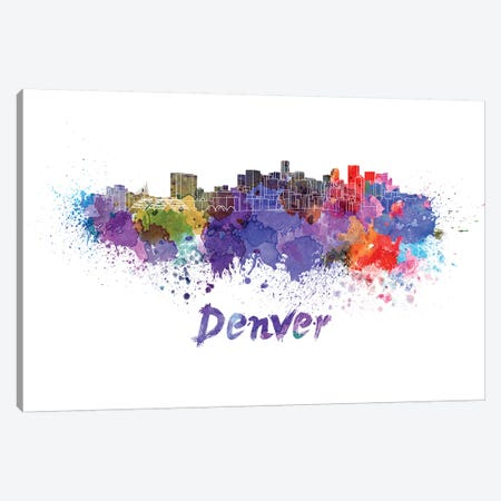 Denver Skyline In Watercolor Canvas Print #PUR196} by Paul Rommer Canvas Print
