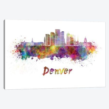 Denver Skyline In Watercolor II Canvas Print #PUR197} by Paul Rommer Art Print