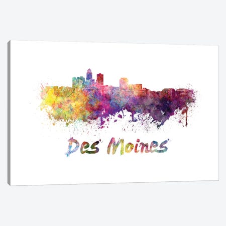 Des Moines Skyline In Watercolor Canvas Print #PUR198} by Paul Rommer Canvas Artwork