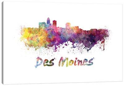 Des Moines Skyline In Watercolor Canvas Art Print