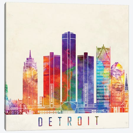 Detroit Landmarks Watercolor Poster 3-Piece Canvas #PUR199} by Paul Rommer Canvas Artwork