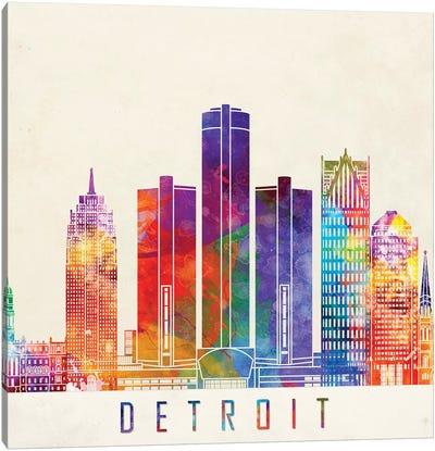 Detroit Landmarks Watercolor Poster Canvas Art Print