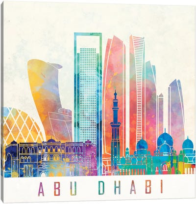 Abu Dhabi Landmarks Watercolor Poster Canvas Art Print