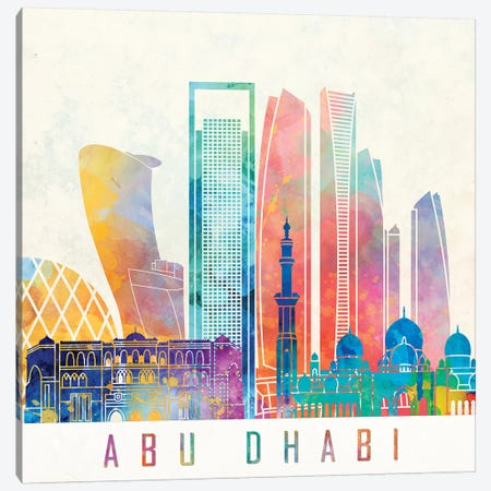 Abu Dhabi Landmarks Watercolor Poster Canvas Print #PUR1} by Paul Rommer Canvas Wall Art