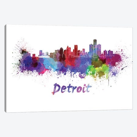 Detroit Skyline In Watercolor Canvas Print #PUR200} by Paul Rommer Canvas Wall Art