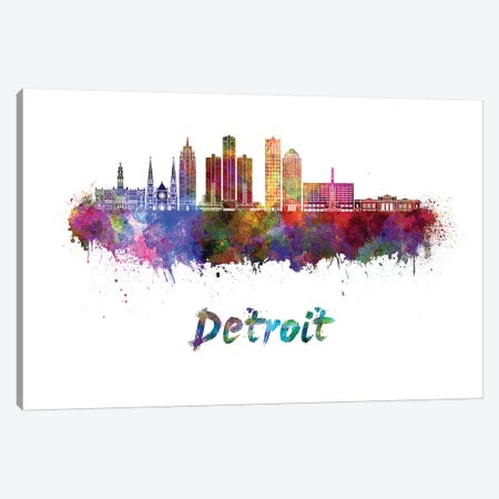 Detroit Skyline In Watercolor II Canvas Print #PUR201} by Paul Rommer Canvas Artwork