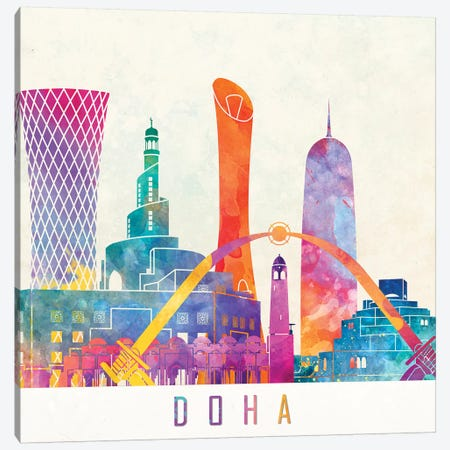 Doha Landmarks Watercolor Poster Canvas Print #PUR207} by Paul Rommer Art Print