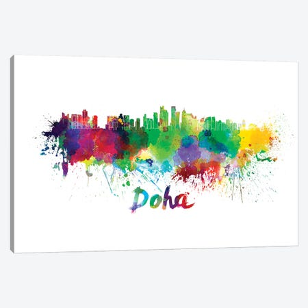 Doha Skyline In Watercolor Canvas Print #PUR208} by Paul Rommer Canvas Wall Art