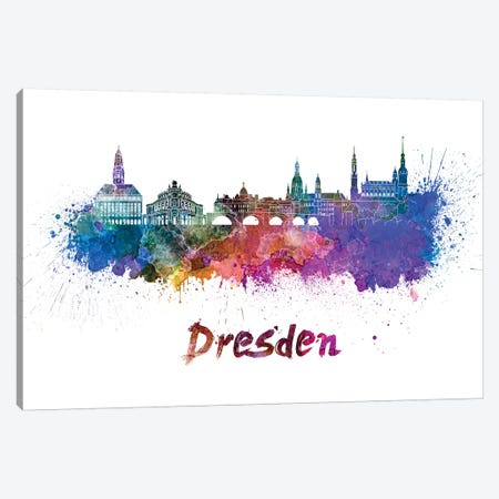 Dresden Skyline In Watercolor Canvas Print #PUR210} by Paul Rommer Canvas Art Print