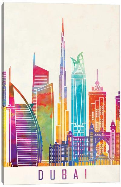 Dubai Landmarks Watercolor Poster Canvas Art Print