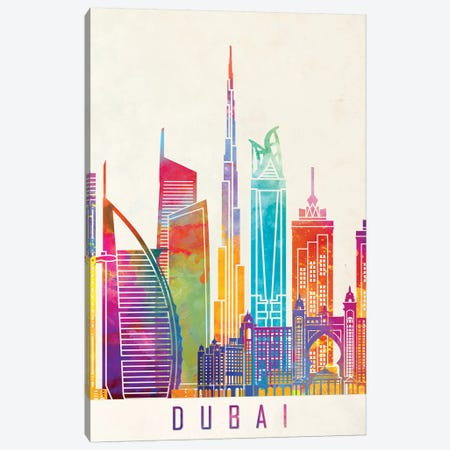 Dubai Landmarks Watercolor Poster Canvas Print #PUR212} by Paul Rommer Art Print