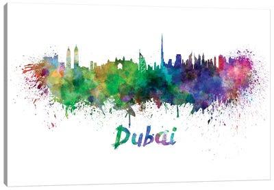 Dubai Skyline In Watercolor Canvas Art Print