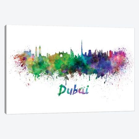 Dubai Skyline In Watercolor Canvas Print #PUR213} by Paul Rommer Canvas Art Print