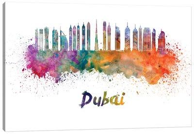 Dubai Skyline In Watercolor II Canvas Art Print