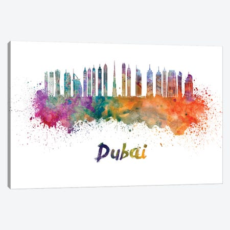 Dubai Skyline In Watercolor II Canvas Print #PUR214} by Paul Rommer Canvas Artwork