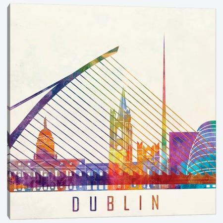 Dublin Landmarks Watercolor Poster Canvas Print #PUR215} by Paul Rommer Canvas Artwork