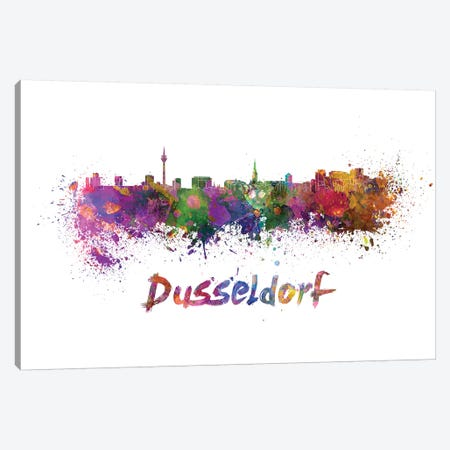 Dusseldorf Skyline In Watercolor Canvas Print #PUR217} by Paul Rommer Canvas Artwork