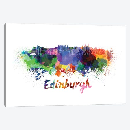 Edinburgh Skyline In Watercolor Canvas Print #PUR223} by Paul Rommer Canvas Art