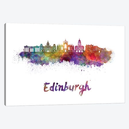 Edinburgh Skyline In Watercolor II Canvas Print #PUR224} by Paul Rommer Canvas Print